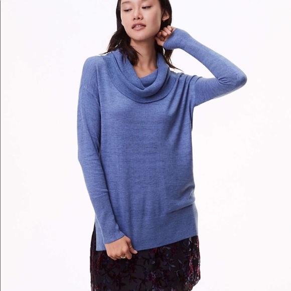 4b01ac0094b LOFT Sweaters - NWOT LOFT Cowl Neck Tunic in Blue